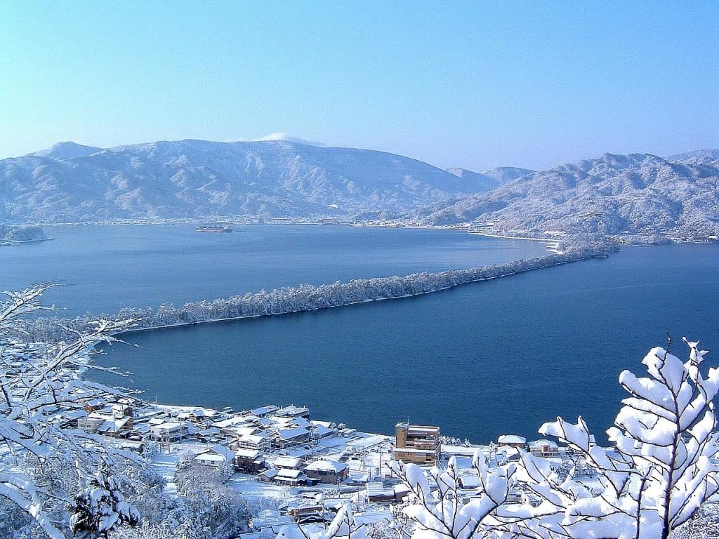 傘松公園 天橋立雪景色